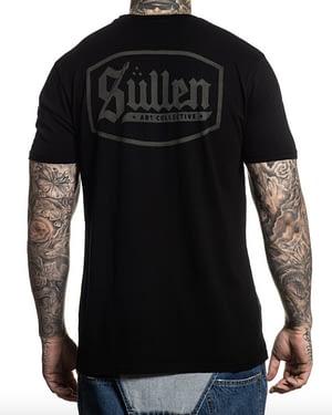 vue de dos du tee shirt lincoln sullen clothing noir