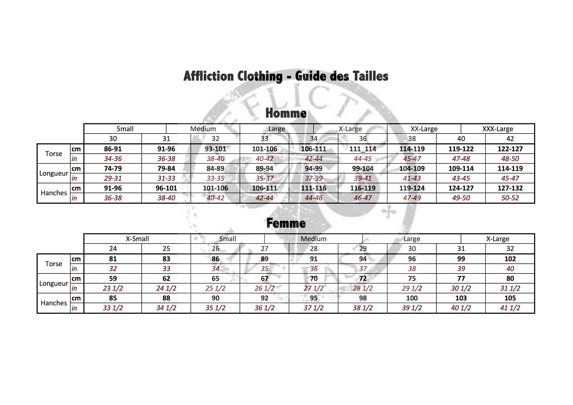 Size charts - Size Guide - Affliction Clothing