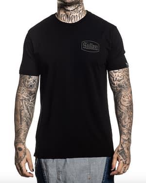 Vue de face tee shirt Lincoln Sullen CLothing Noir