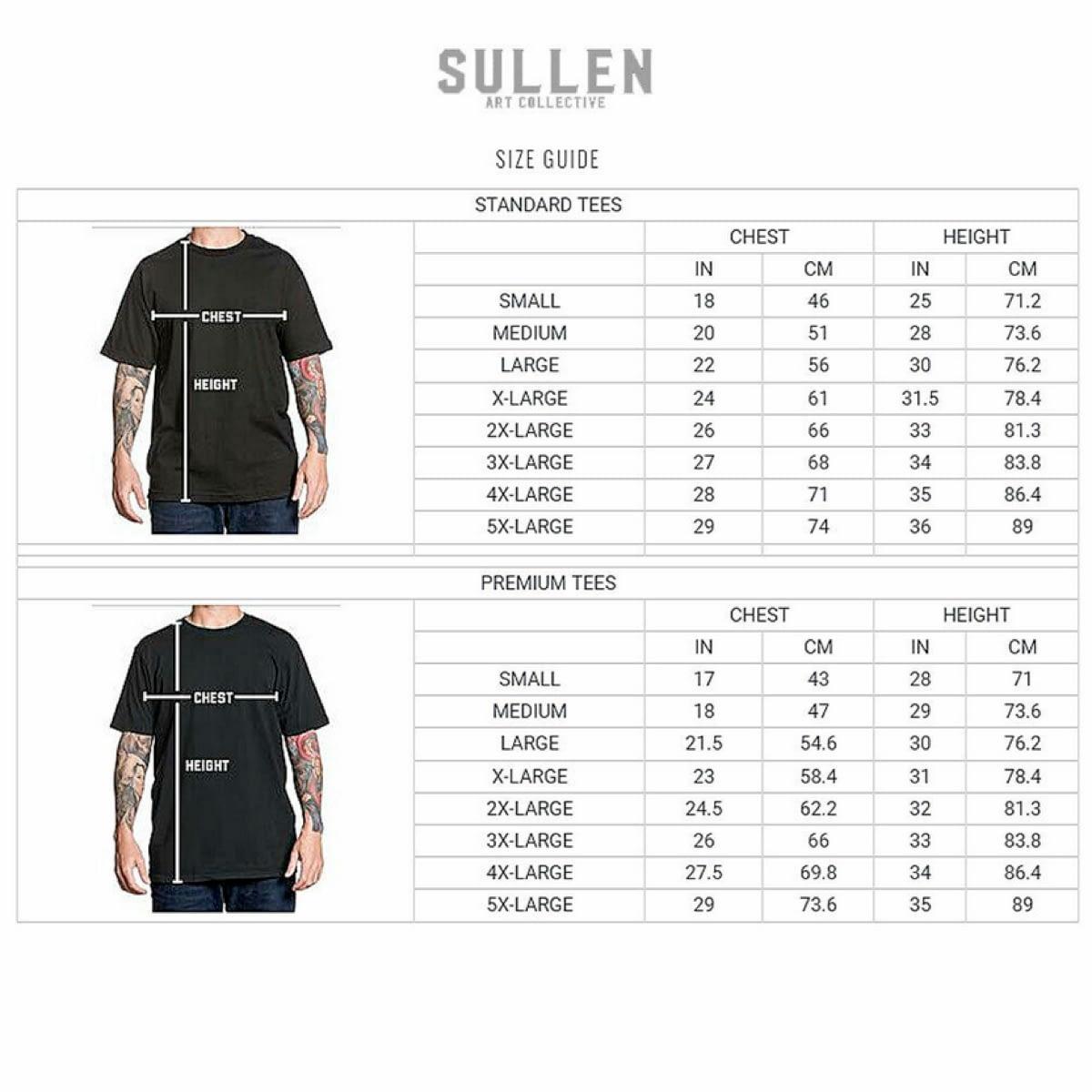 guide de tailles tee shirts Sullen Clothing classique et premium