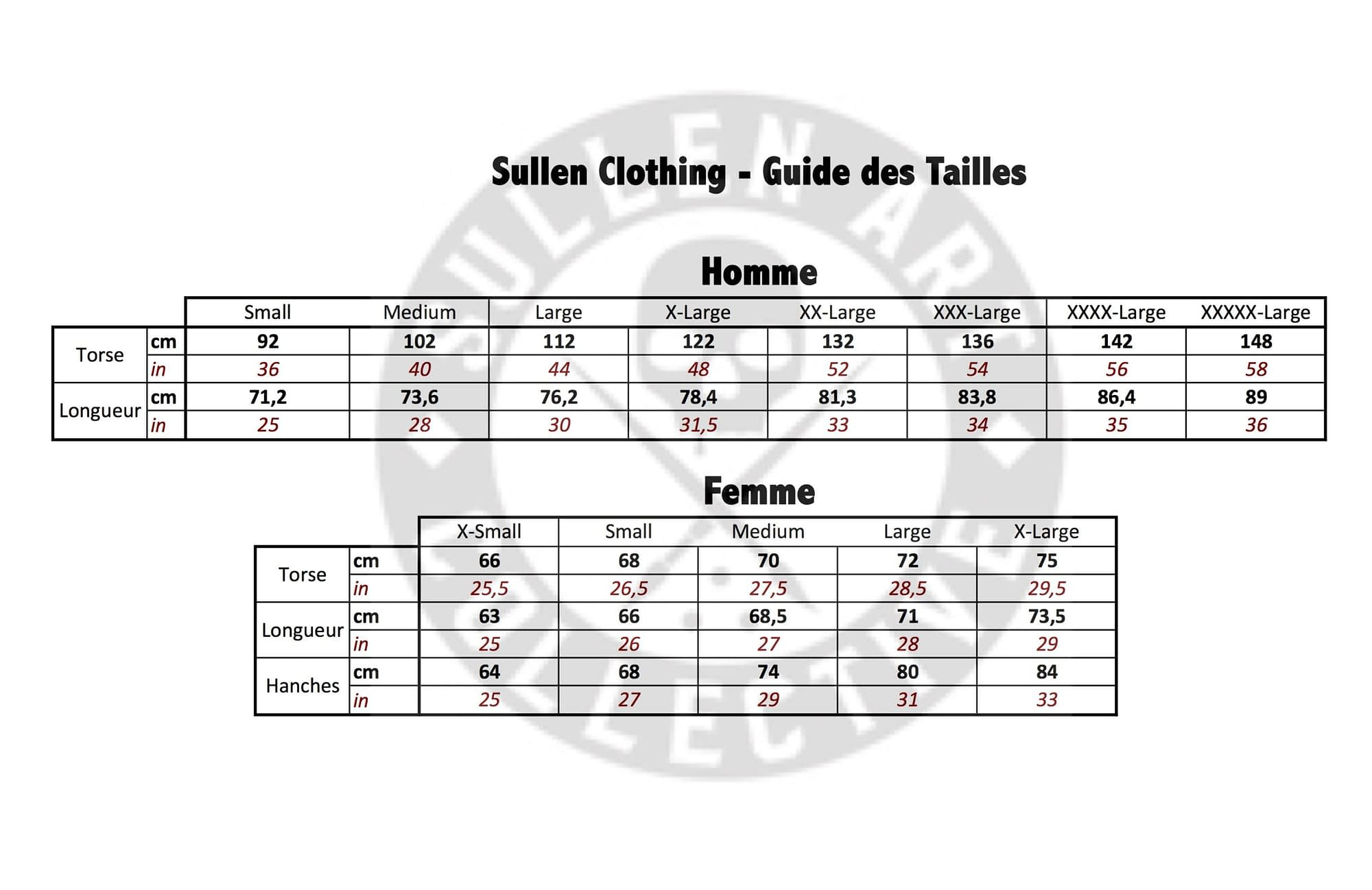 Size Charts - Size guide - Sullen CLothign - Sullen Art Collective
